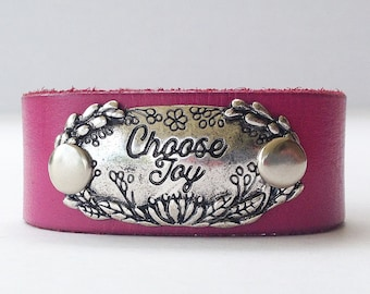 Upcycled pink leather belt cuff, Leather cuff, Leather bracelet, Word cuff