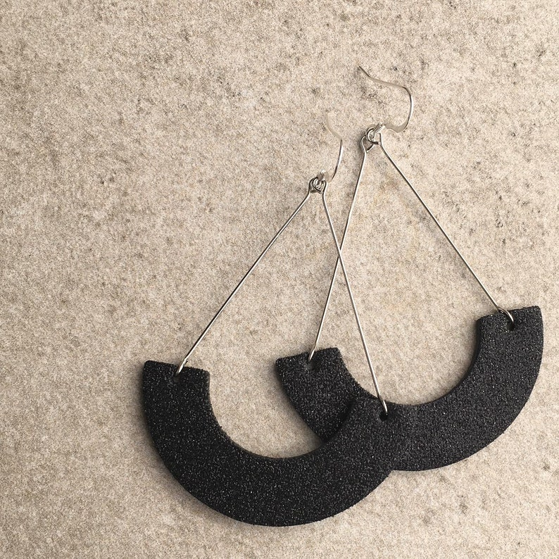 Holiday earrings Black sparkle leather earrings Gifts for her Leather earrings Swing earrings