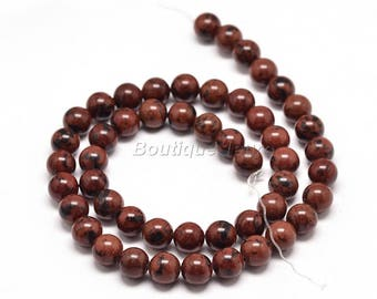 6mm (5), 8mm (3), 10mm (2)-mahogany Obsidian beads