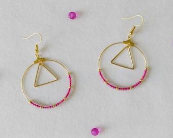 hoop earrings gold, Fuchsia and gold beads, triangle ring / rings / geometric jewelry / jewelry