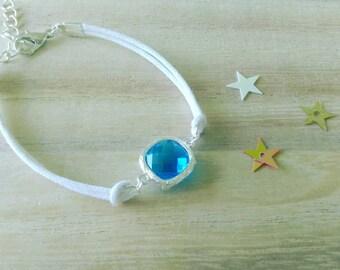 Blue rhinestone bracelet, white cord / women bracelet / girl bracelet / bracelet / minimalist / discrete/gift for her
