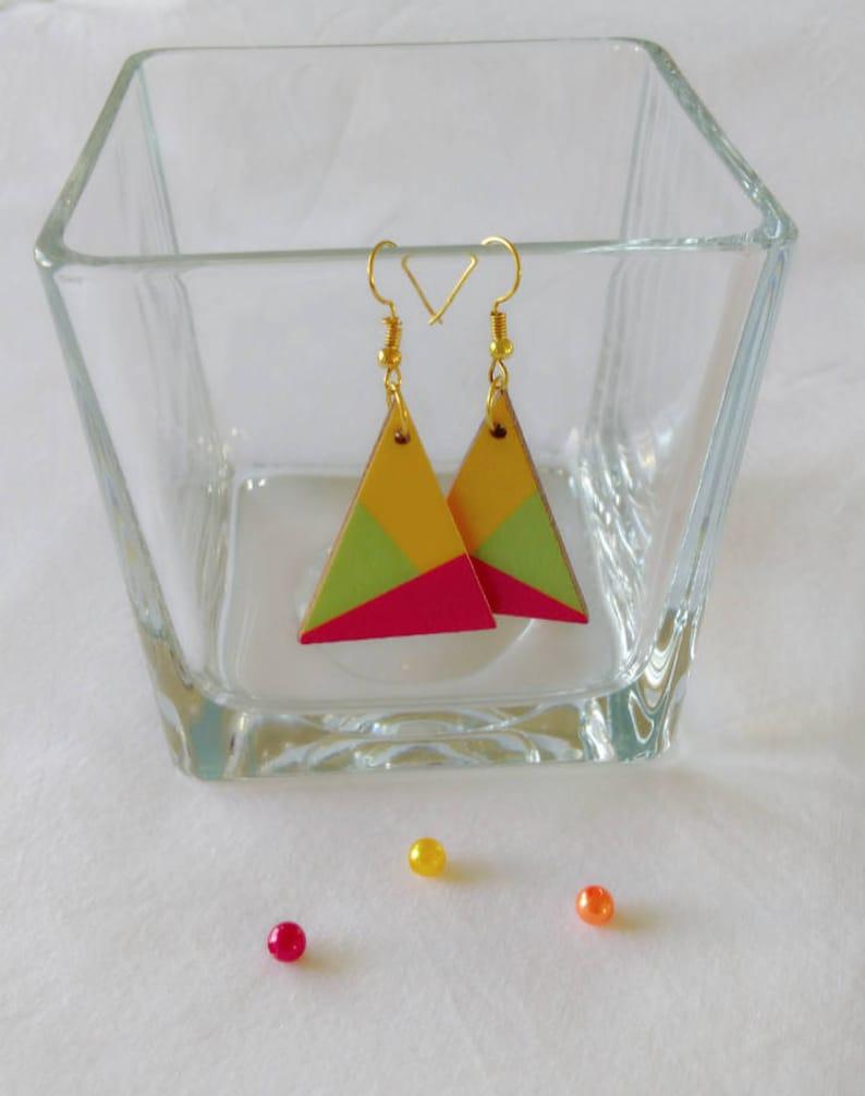 wooden geometric earrings triangle earrings colorful wooden earrings Wooden