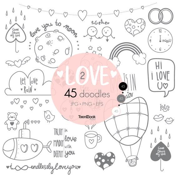 Love Doodles Clipart Vol 2 Set Of Valentine S Doodle Etsy