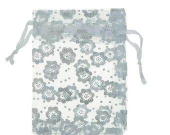 x 1 white Organza gift pouch bag with flowers 9 cm x 7 cm
