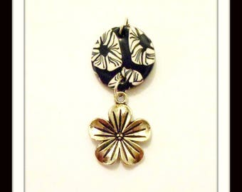Pendant flower and polymer clay flowers black & white 4.5 cm