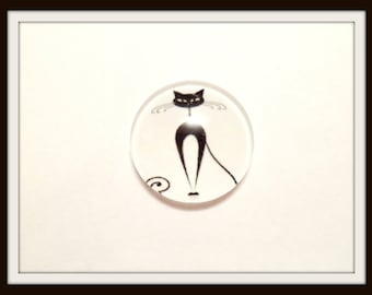 Cat black 18 mm glass Cabochon Dome 1 x