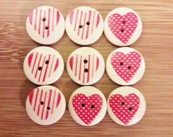 x 9 wood hearts red 20 mm model 3 buttons and 4