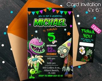 Plants Vs Zombies Invitation Party Birthday Theme Printable Game Zombie