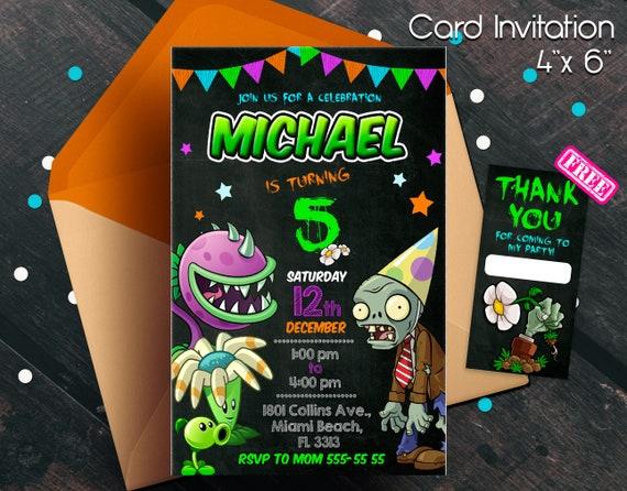 Plants Vs Zombies Invitation Party