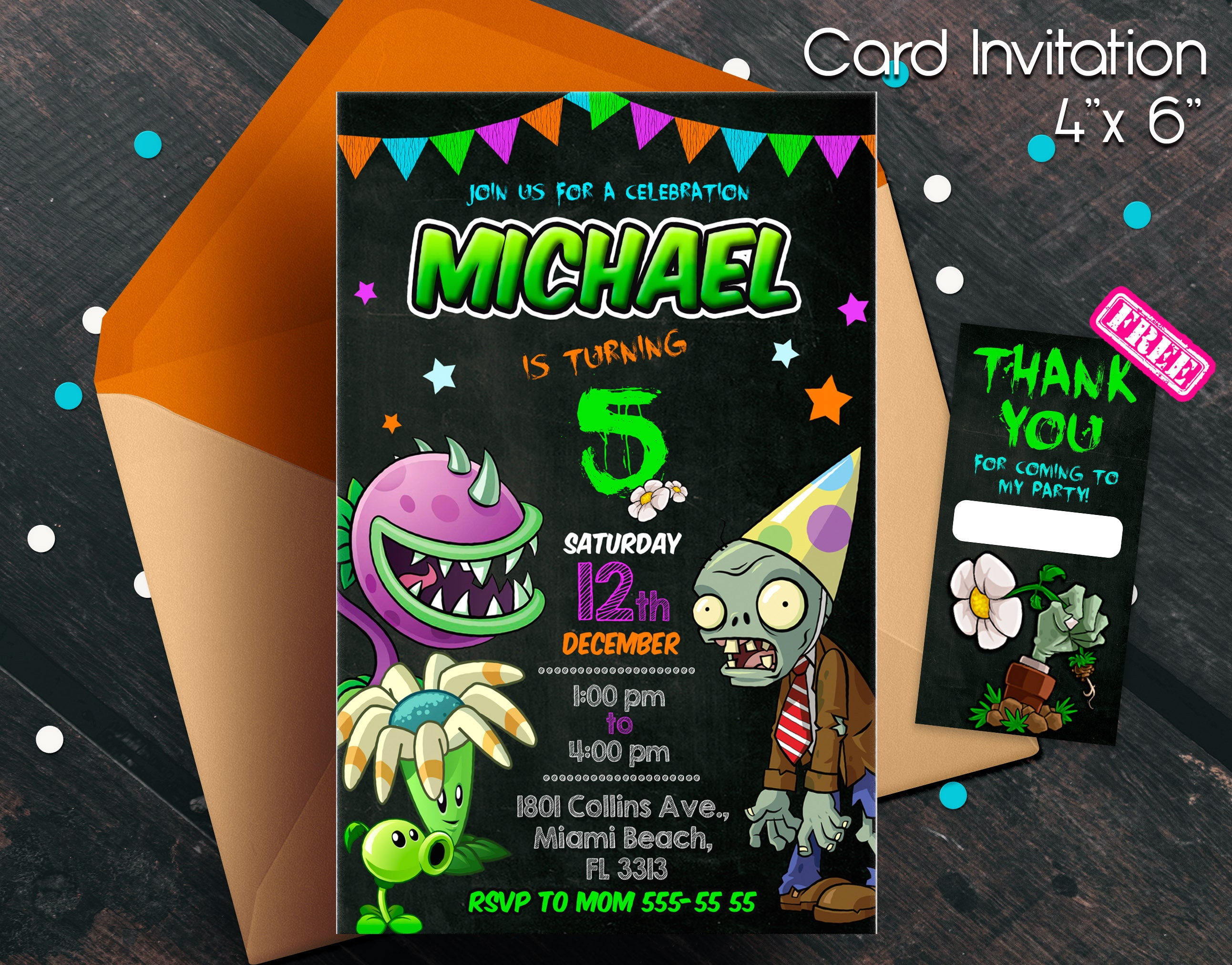 Plants Vs Zombies Invitation Party