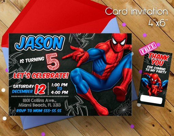 Spiderman Invitation Spiderman Superhero Invitation Etsy