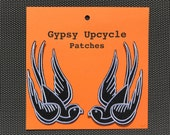 Vintage Swallow Tattoo Patches, Set of Iron-on Patches, Upcycle Fun