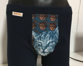 """Boxer briefs """"sceptical cat"""" navy blue / size L"""