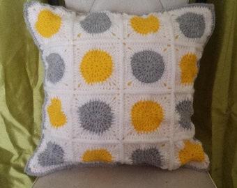 retro vintage handmade granny square crochet cushion