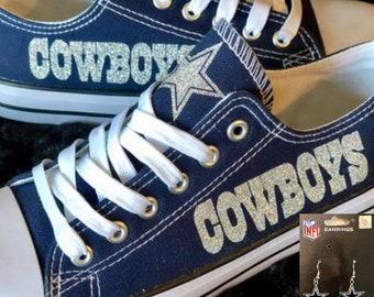 Cowboys Womans Custom Shoes w o Bling w Free Pair of Dallas Cowboys earrings d5897fd6c