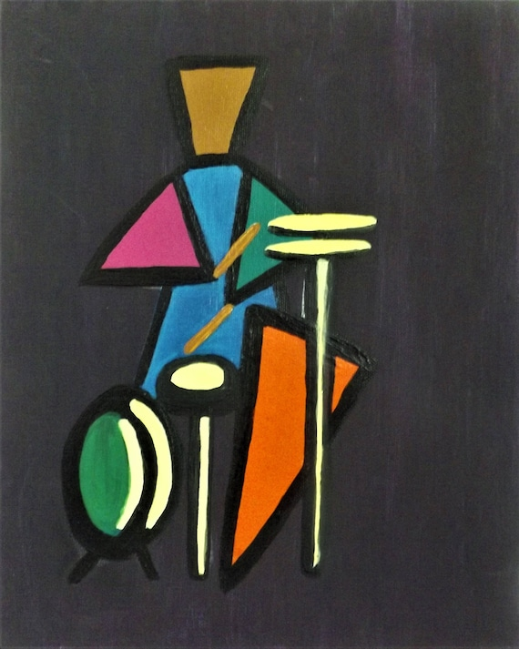 Items Similar To Drummer In Geometric Shapes Acrylics On