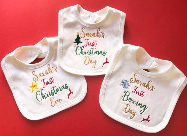 1st Christmas Personalised Baby,Toddler Bib Xmas Personalised Bandana Bib,