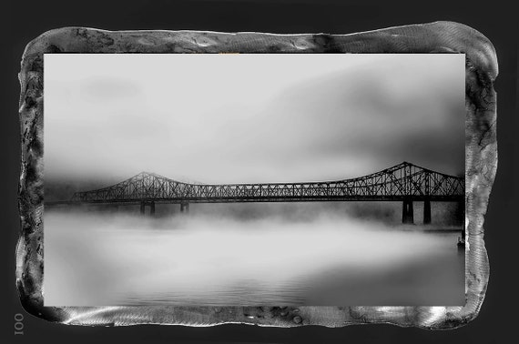 "18""x29 The Bridge New Orleans digital art photo framed by painted metal backing with epoxy resin clear coat; larger sizes available"