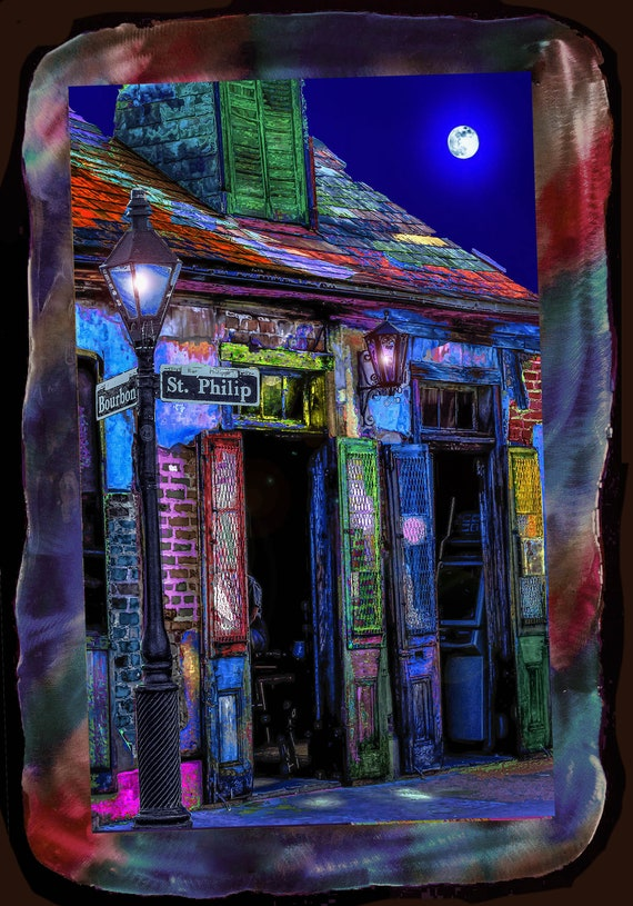 """20""""x29""""Unique presentation of framed photo of Lafittes Blacksmith Shop, New Orleans, smaller/larger sizes available"""
