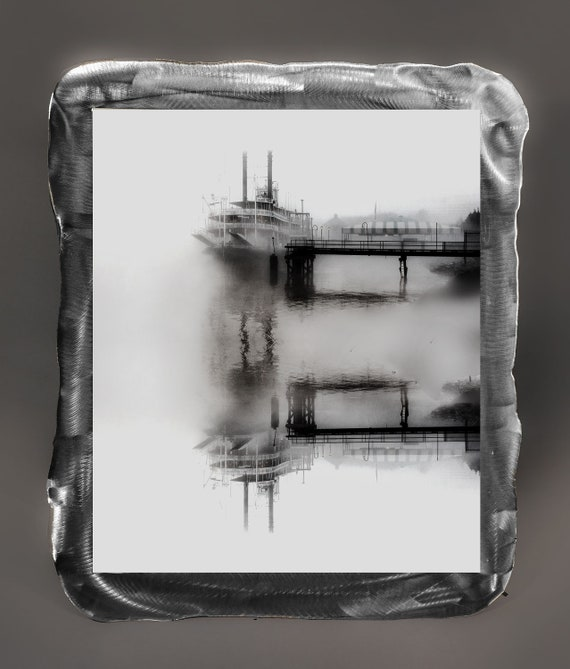 "17""x19""( Lrger size Available) Reflection River Boat, New Orleans, B&W photo applied to metal frame with resin clear coat."
