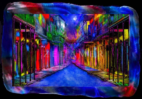 "19""x28"" vivid color print on painted metal frame  of French Quarter New Orleans. ( Limited time special offer )"