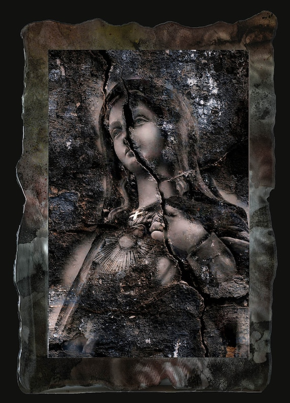 "18""x27"" Vivid framed Digital art photo of Madonna on metal plate with resin clear coat, smaller/larger sizes available"