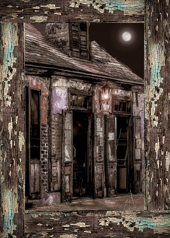 "20""x29""Unique presentation of framed photo of Lafittes Blacksmith Shop, New Orleans"