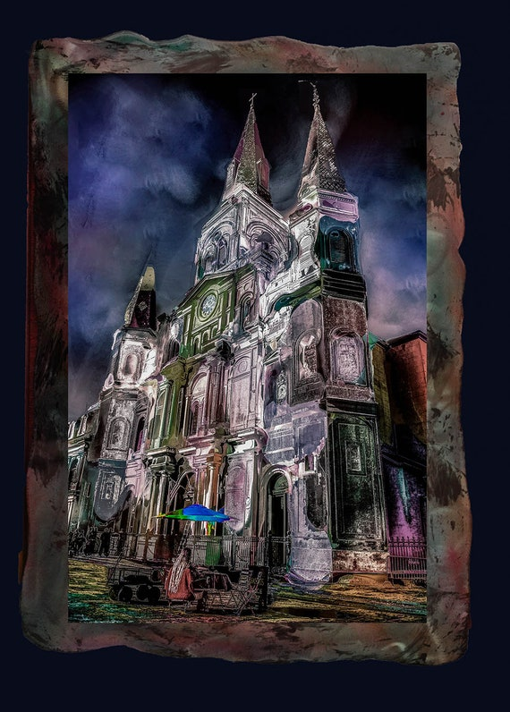 Uniquely presented St. Luis Cathedral, New Orleans; digital photo print on metal with resin clear coat; larger sizes available