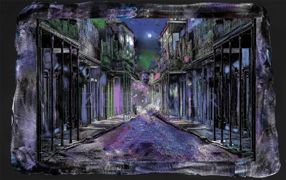 """French Quarter scene 19""""x27""""photo print mounted on polished and painted metal.rezined on top ready to hang. larger/smaller sizes available"""