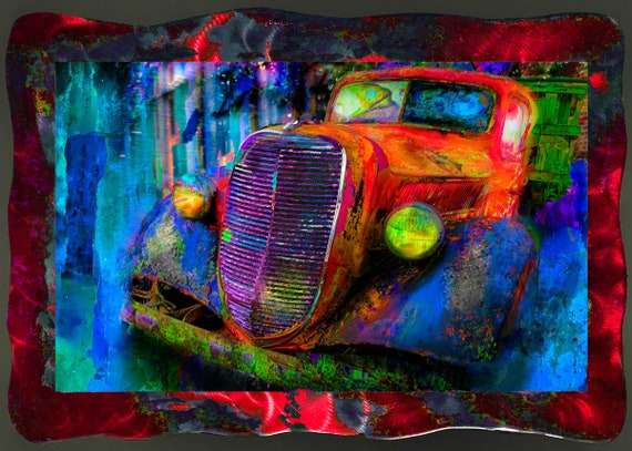 "18""x26"" The Truck, New Orleans , Mixed media  photo print on  metal frame with resin clear coat . (limited time special offer)"