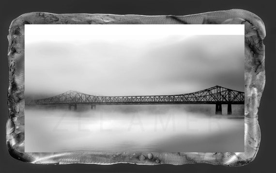 "New Orleans Crescent city bridge photo on metal frame  resin on top ready to hang 20""x29"""
