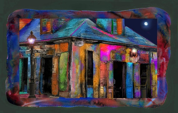 Lafitte black smith oldest bar, New Orleans, mixmedia  photo on metal with resin on top, other sizes available ready to hang