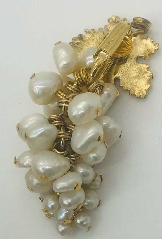 Vintage Grape Faux Pearl Earrings - image 4