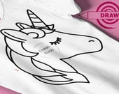 Unicorn SVG, Unicorn Drawing svg, Filled in Dawing, writing, pen, marker, coloring book svg, diy shirt, coloring, drawing svg coloring, .4mm