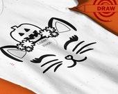 Halloween Cat SVG, Pumpkin Cat Drawing svg, writing, pen, marker, coloring book svg, diy shirt, coloring, drawing svg, coloring svg, .4mm