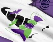 Witch Unicorn, SVG, Drawing SVG, Marker SVG, Pen svg, Fall, Spooky Halloween svg, Halloween svg file, Halloween unicorn svg, witch svg, 1mm