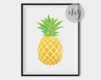 Watercolor Pineapple Print, Pineapple Decor, Pineapple Art Print, Kitchen Print, Fruit Print, Printable Wall Art, Kitchen Wall Art