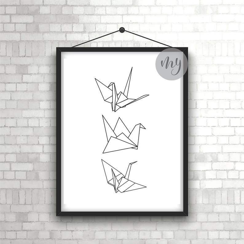photograph about Origami Crane Instructions Printable known as Origami Print, Paper Cranes Print, Minimalist Artwork, Revolutionary Wall Artwork, Printable Wall Artwork, Paper Crane Poster, Black and White Print