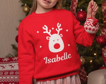 Personalised Christmas Jumper Kids Adults Red Jumper With Reindeer and Personalised With Any Name