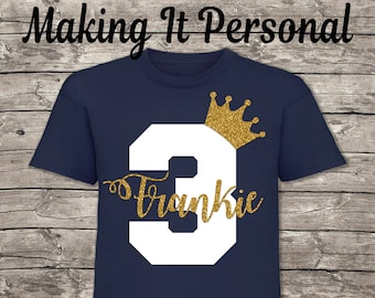 Personalised 1st 2nd 3rd 4th 5th 6th Birthday T-Shirt Boys Navy With White & Gold Glitter Name and Age
