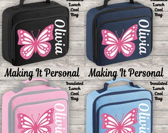 Personalised Butterfly Lunch Bag Cool Bag Lunch Box Fully Insulated ADD YOUR NAME Back To School