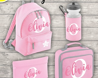 Personalised MINI 9L Kids Backpack Lunch Bag Water Bottle and Pencil Case Back To School Classic Pink ADD Your Initial and Name