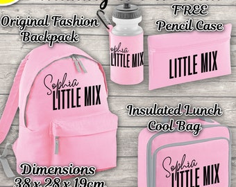 Personalised Little Mix 12 Litres Backpack Kids Pink Lunch Bag Water Bottle and FREE Pencil Case ADD Your NAME Back To School