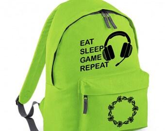 Eat Sleep Game Repeat Gamer Headphones Backpack Full Size 18 Litres Back To School Backpack Kids