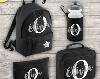 Personalised MINI 9L Kids Backpack Lunch Bag Water Bottle and Pencil Case Back To School Black ADD Your Initial and Name