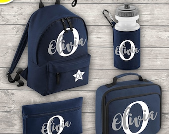 Personalised MINI 9L Kids Backpack Lunch Bag Water Bottle and Pencil Case Back To School Navy ADD Your Initial and Name