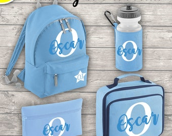 Personalised MINI 9L Kids Backpack Lunch Bag Water Bottle and Pencil Case Back To School Sky Blue ADD Your Initial and Name