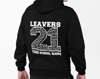 Leavers Hoodie Schools, Colleges & Universities Clubs Matching Hoodies Class Of 2021 or any year BLACK