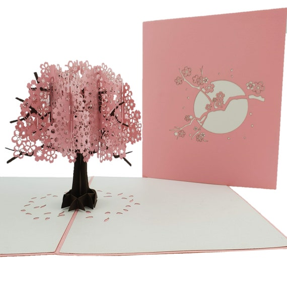 Pink Cherry Blossom 3d Pop Up Card Etsy