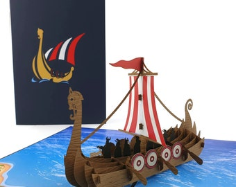 Viking Long Ship 3d pop up card